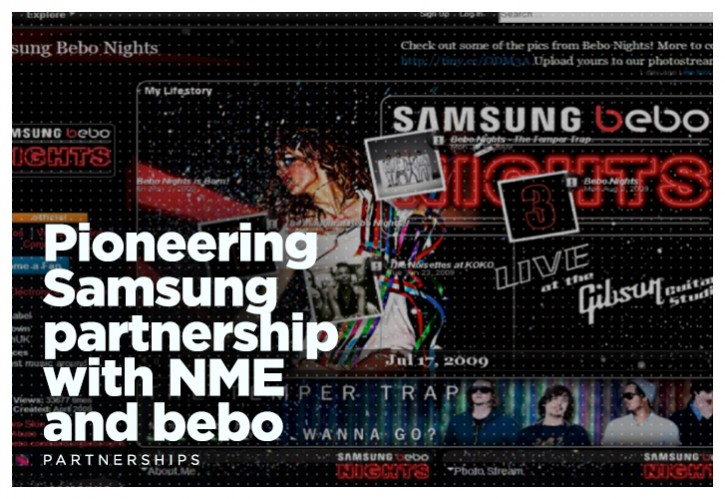Pioneering Samsung partnership with NME and bebo